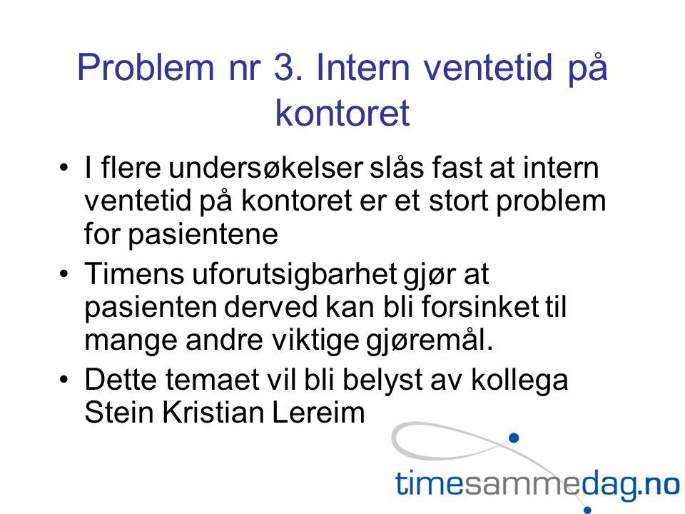Problem nr 3. Intern ventetid på kontoret