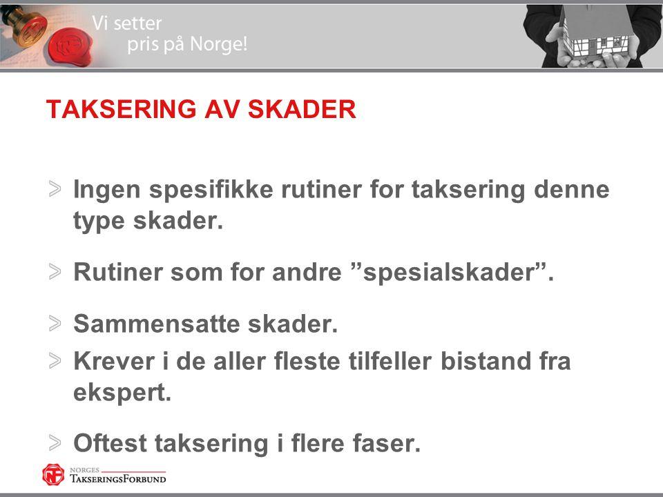 TAKSERING AV SKADER Ingen spesifikke rutiner for taksering denne type skader. Rutiner som for andre spesialskader .