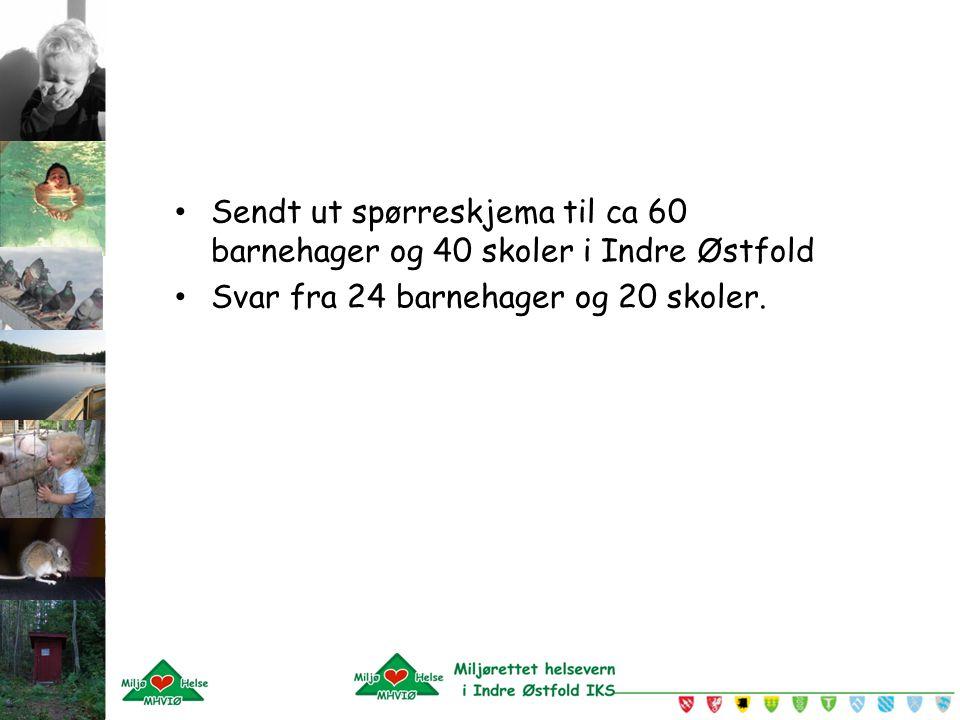 Sendt ut spørreskjema til ca 60 barnehager og 40 skoler i Indre Østfold