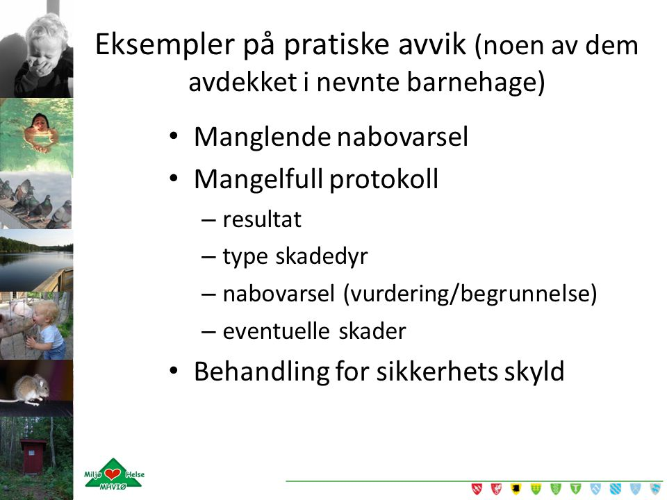 Eksempler på pratiske avvik (noen av dem avdekket i nevnte barnehage)