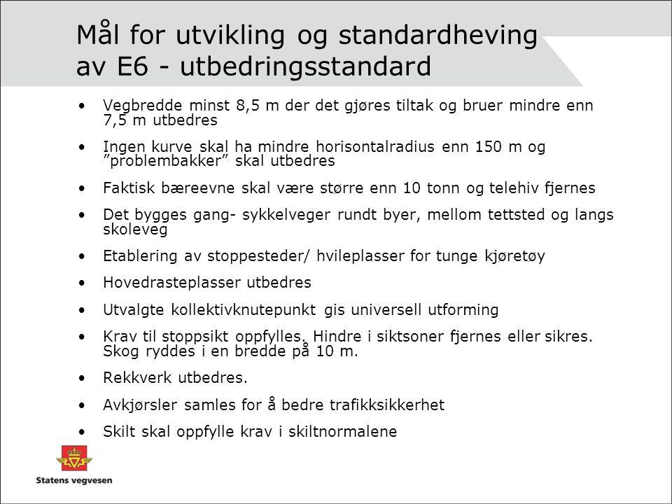 Mål for utvikling og standardheving av E6 - utbedringsstandard