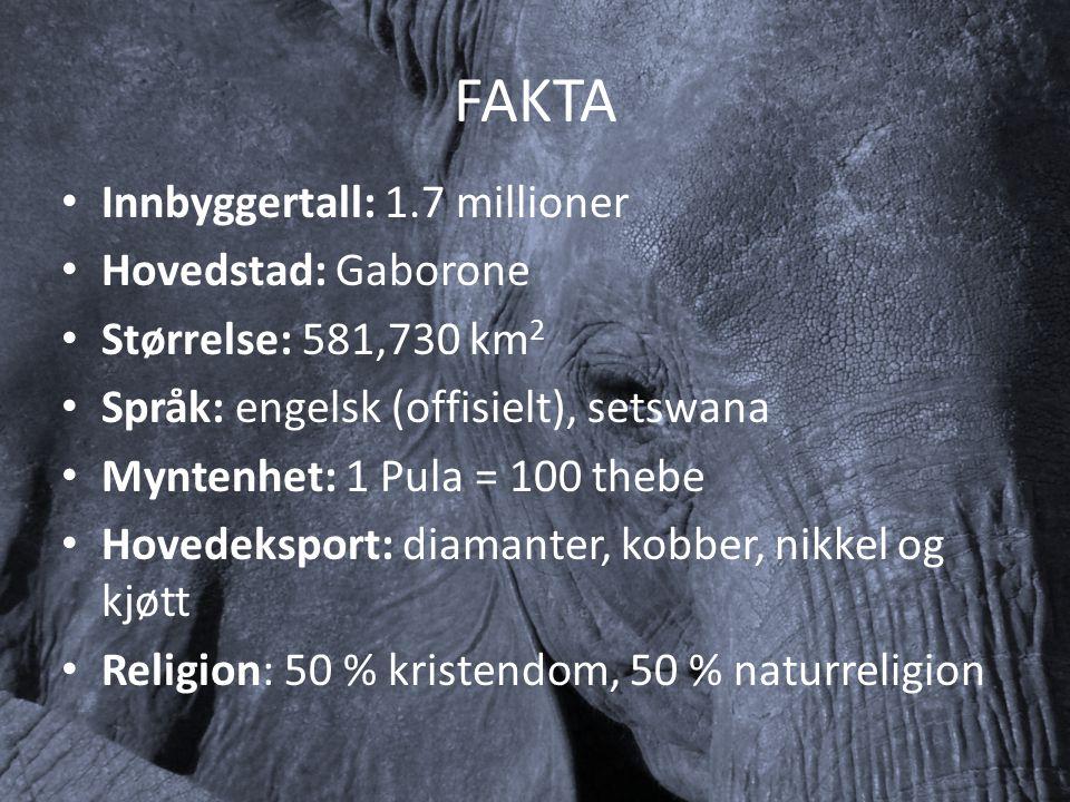 FAKTA Innbyggertall: 1.7 millioner Hovedstad: Gaborone