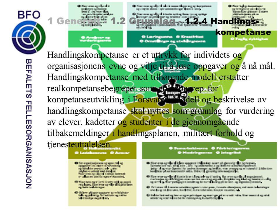 1 Generelt - 1.2 Grunnlag - 1.2.4 Handlings- kompetanse