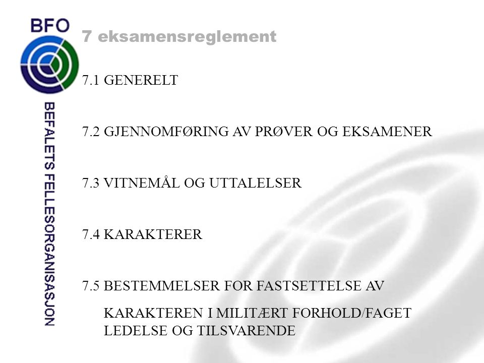 7 eksamensreglement 7.1 GENERELT