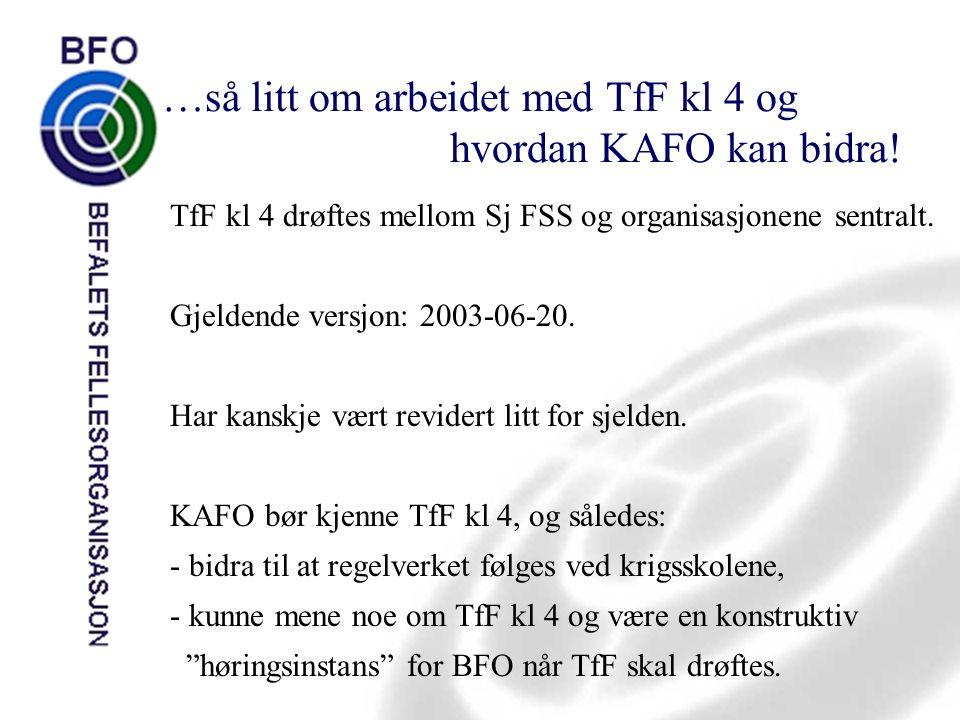 …så litt om arbeidet med TfF kl 4 og hvordan KAFO kan bidra!