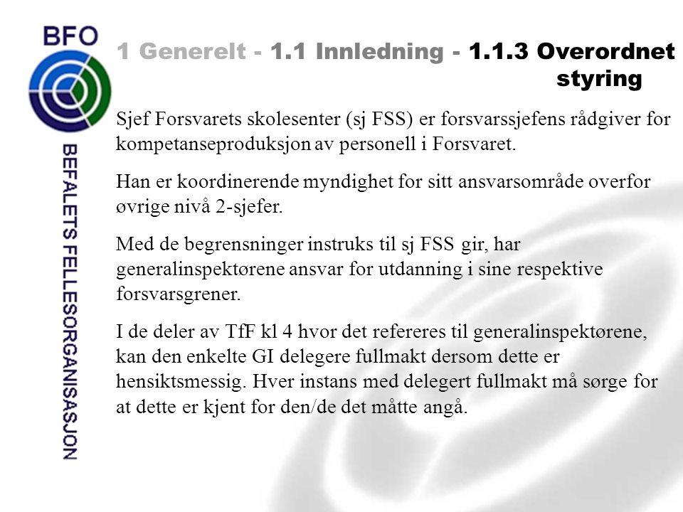 1 Generelt - 1.1 Innledning - 1.1.3 Overordnet styring