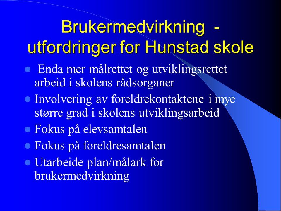 Brukermedvirkning - utfordringer for Hunstad skole