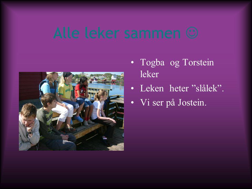 Alle leker sammen  Togba og Torstein leker Leken heter slålek .