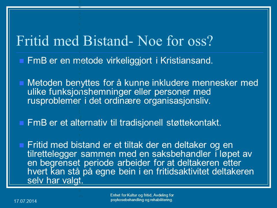 Fritid med Bistand- Noe for oss