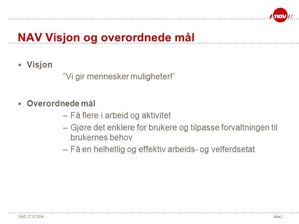 NAV Visjon og overordnede mål