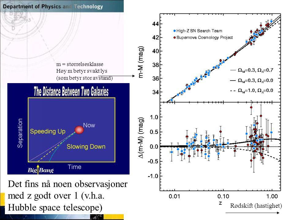 Det fins nå noen observasjoner med z godt over 1 (v.h.a.