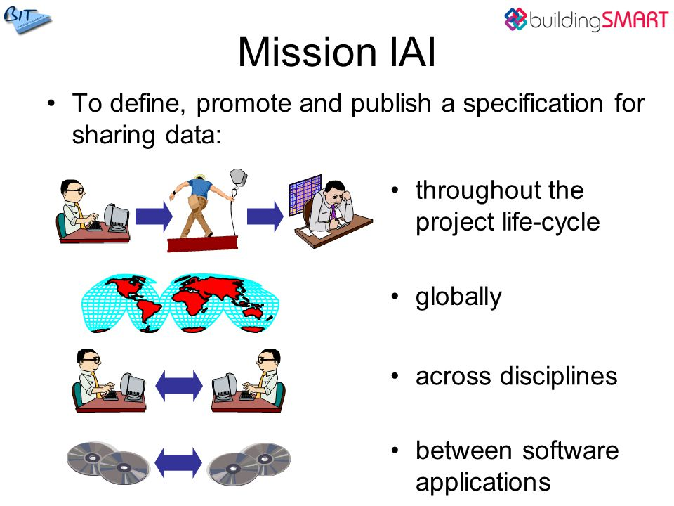Mission IAI To define, promote and publish a specification for sharing data: throughout the project life-cycle.