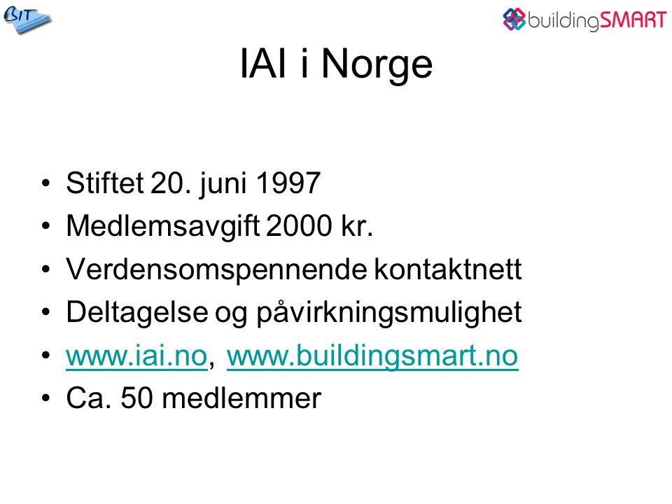 IAI i Norge Stiftet 20. juni 1997 Medlemsavgift 2000 kr.