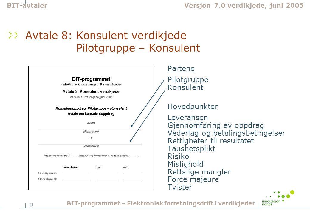 Avtale 8: Konsulent verdikjede Pilotgruppe – Konsulent