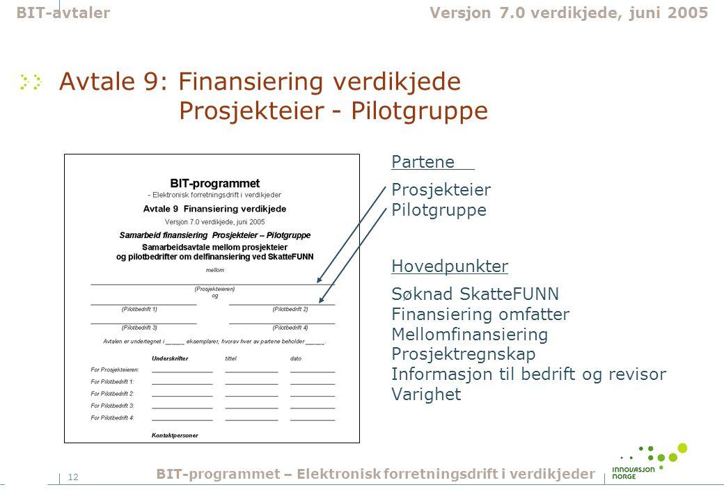 Avtale 9: Finansiering verdikjede Prosjekteier - Pilotgruppe