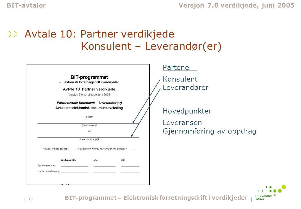 Avtale 10: Partner verdikjede Konsulent – Leverandør(er)