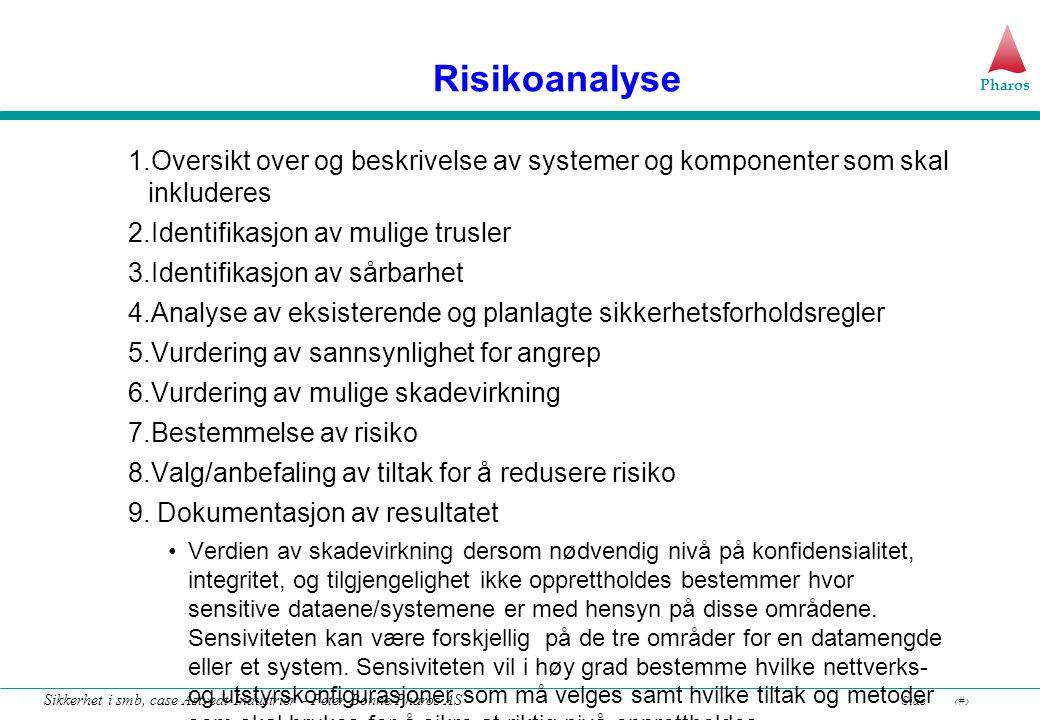 Risikoanalyse 1.Oversikt over og beskrivelse av systemer og komponenter som skal inkluderes. 2.Identifikasjon av mulige trusler.
