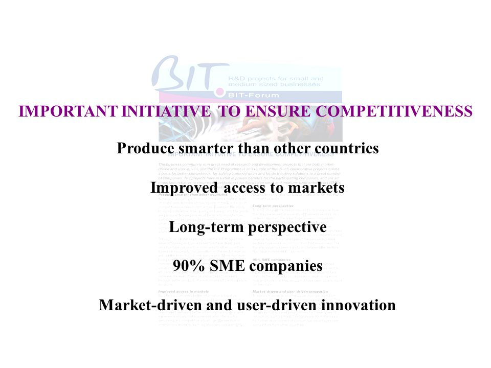IMPORTANT INITIATIVE TO ENSURE COMPETITIVENESS