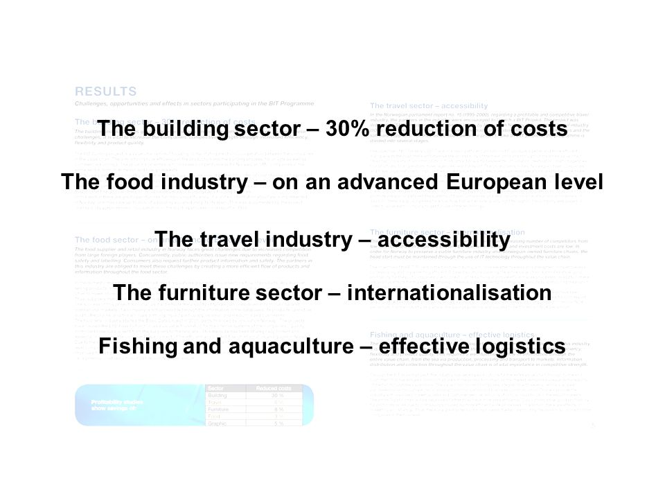 Results The building sector – 30% reduction of costs
