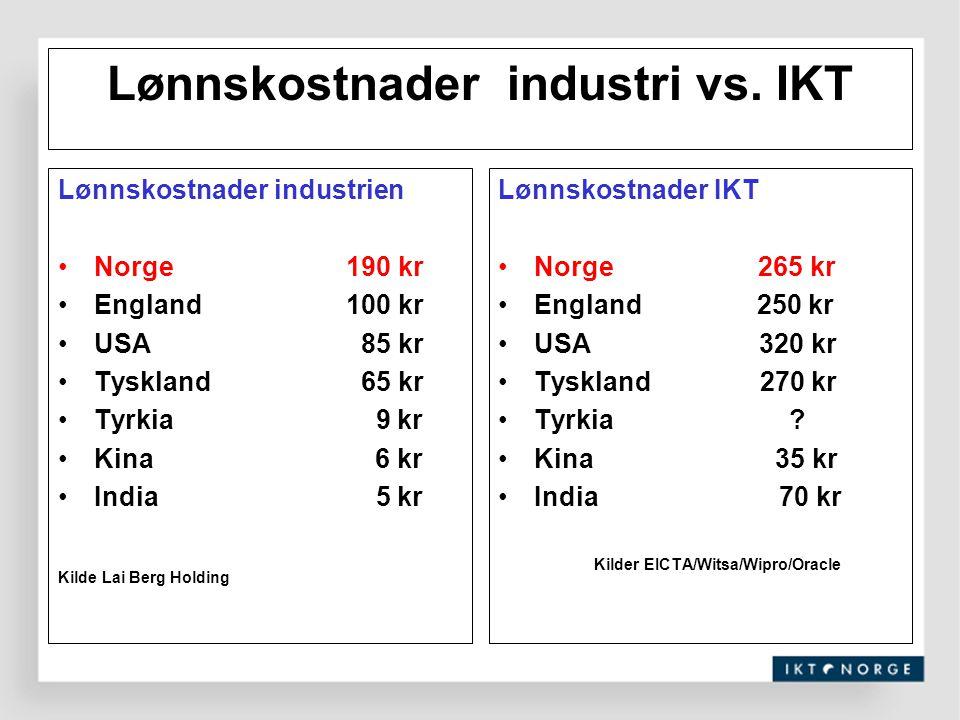 Lønnskostnader industri vs. IKT