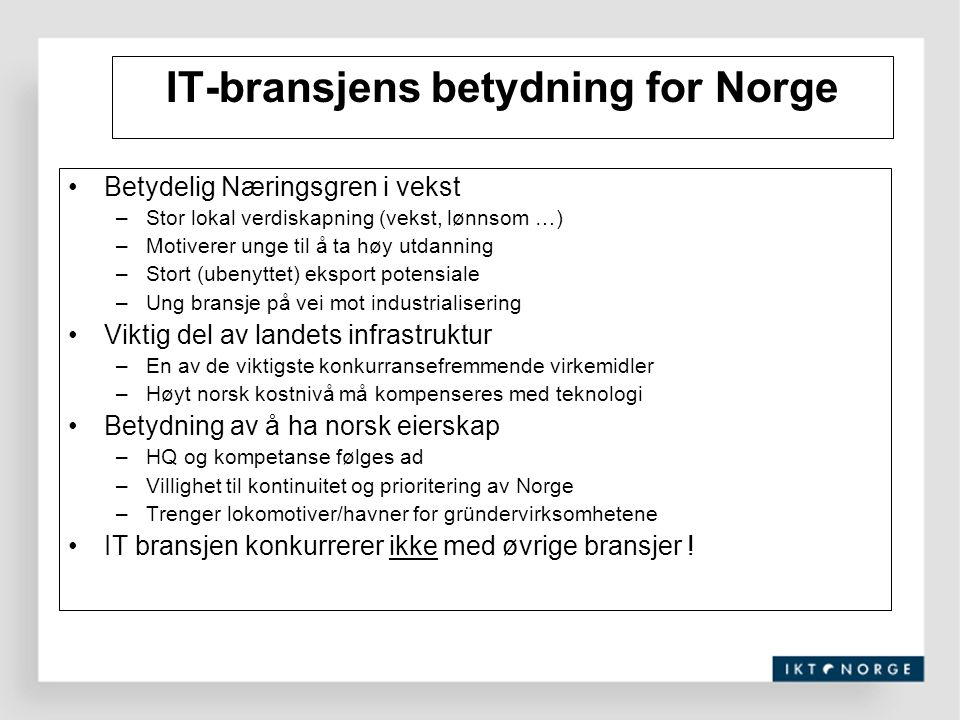 IT-bransjens betydning for Norge