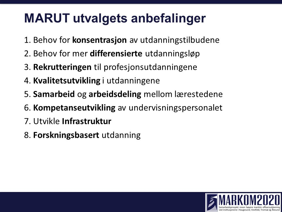 MARUT utvalgets anbefalinger