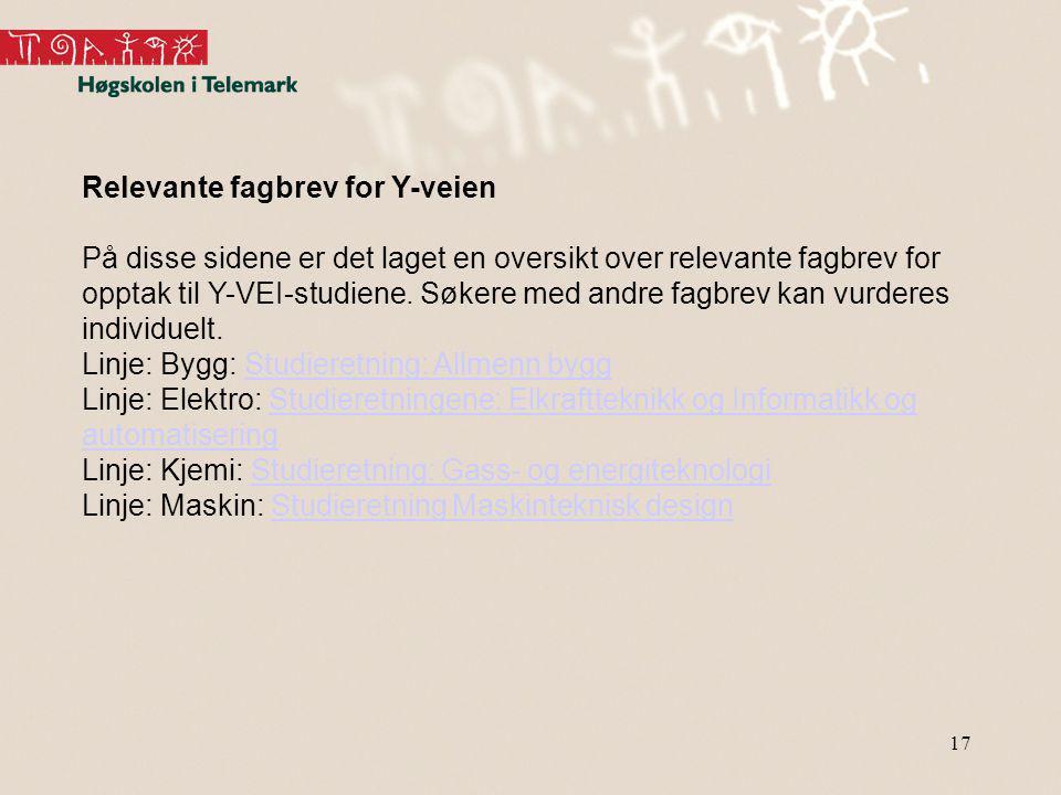 Relevante fagbrev for Y-veien