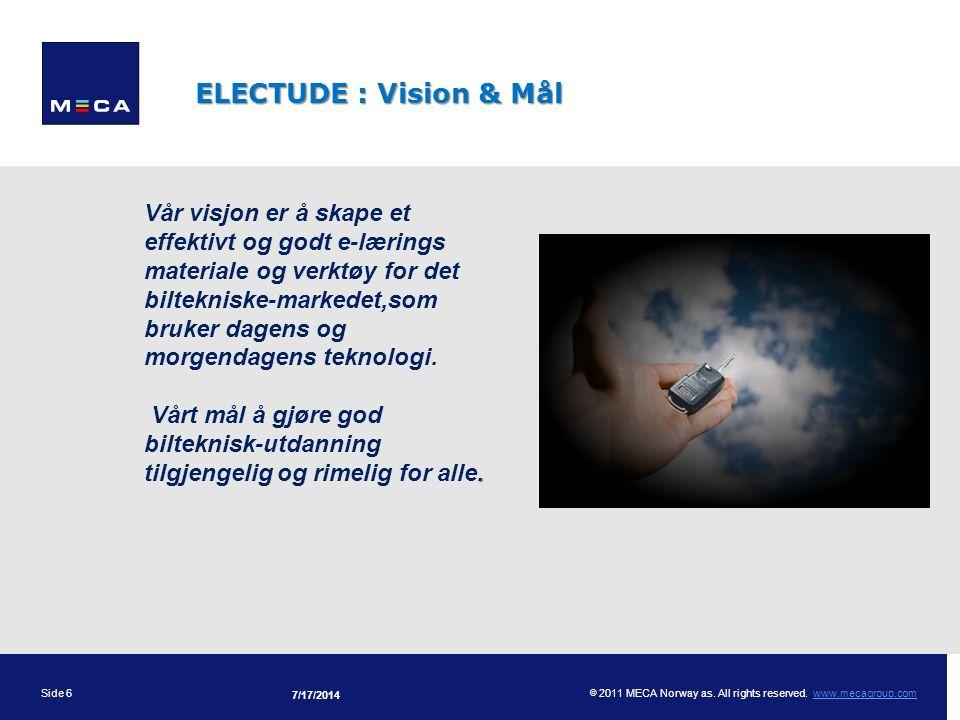 Presentationens tema ELECTUDE : Vision & Mål.
