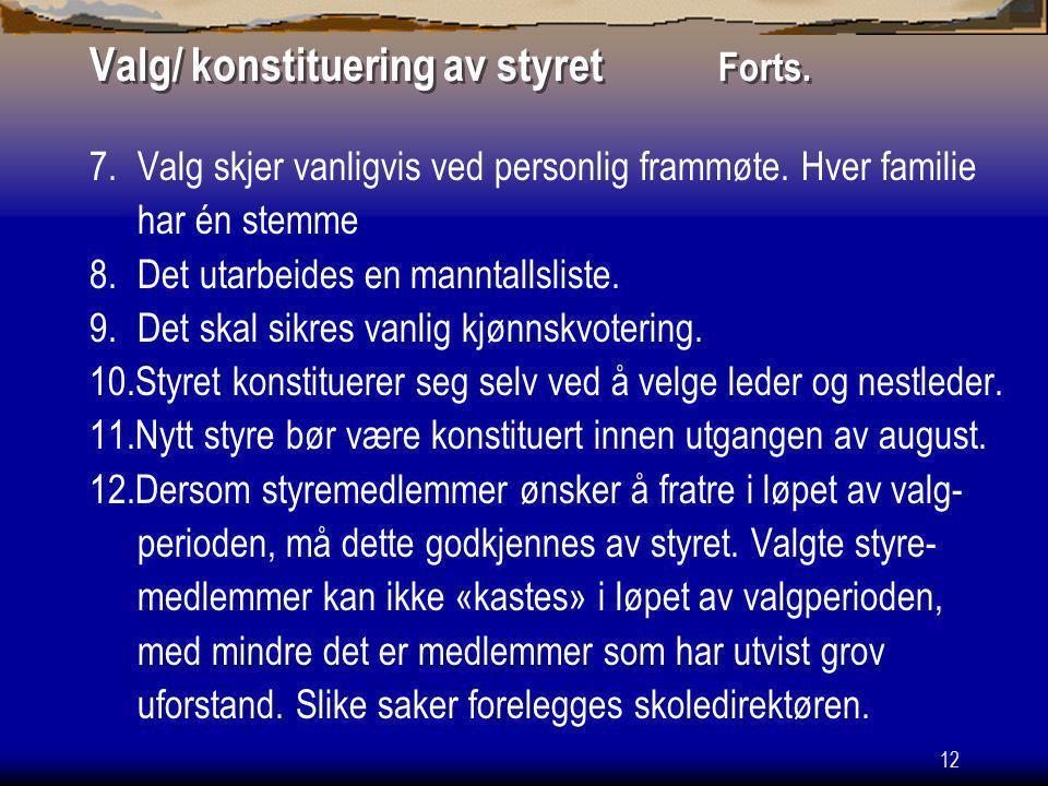 Valg/ konstituering av styret Forts.