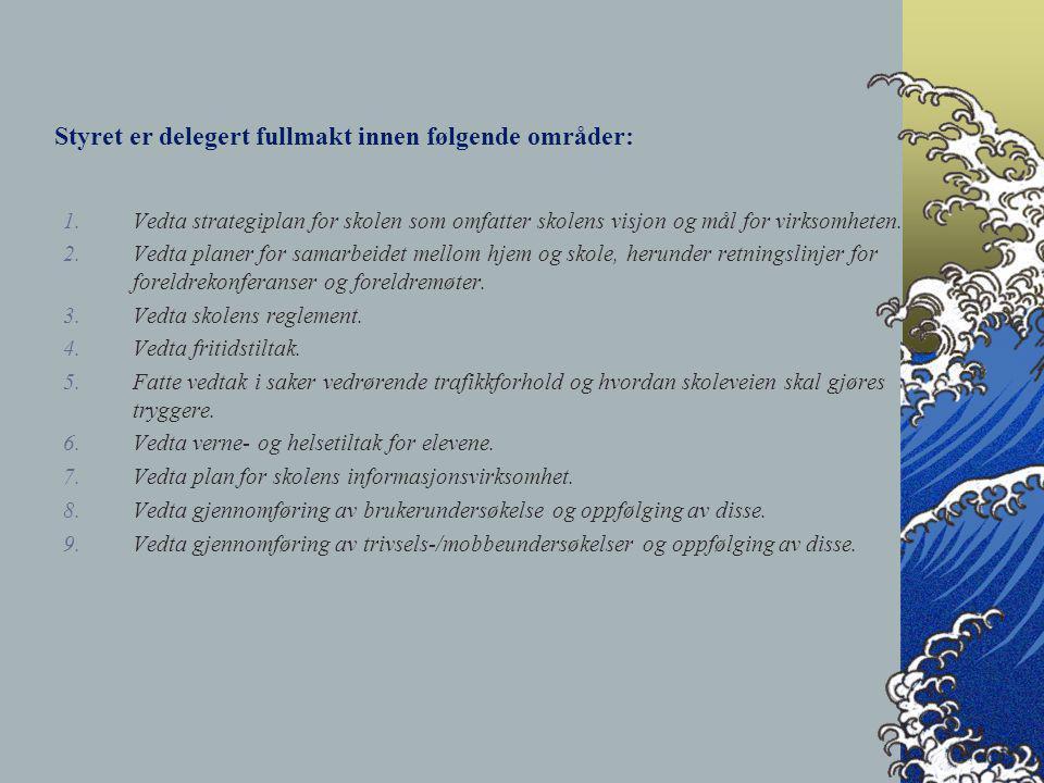 Styret er delegert fullmakt innen følgende områder: