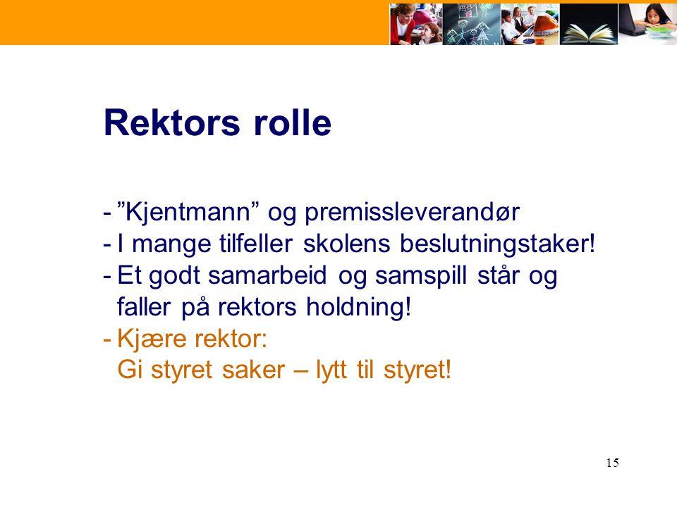 Rektors rolle Kjentmann og premissleverandør