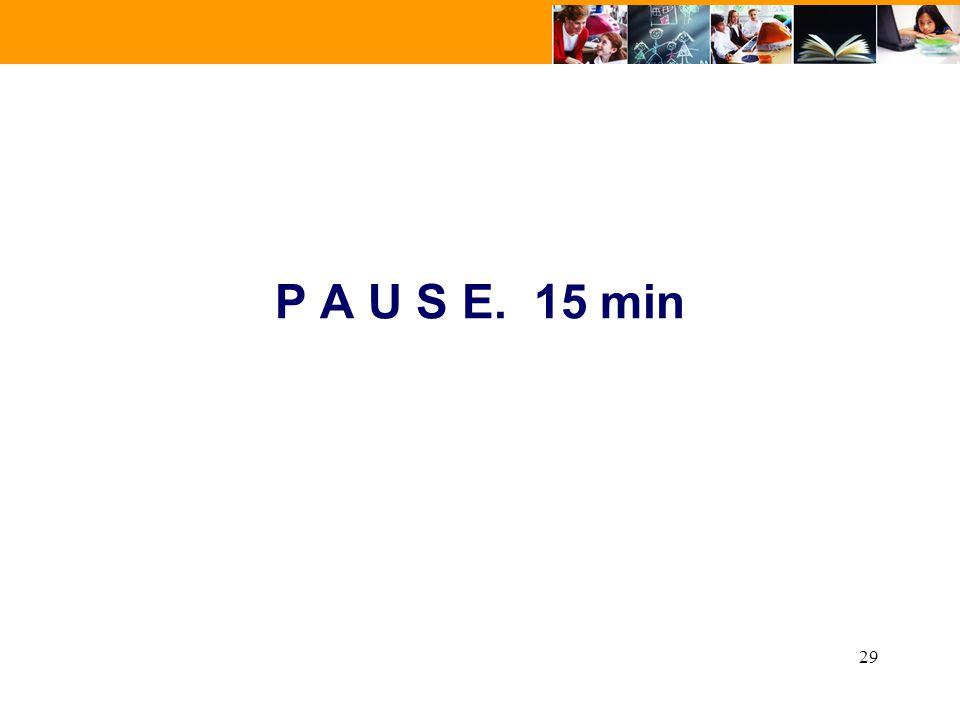 P A U S E. 15 min