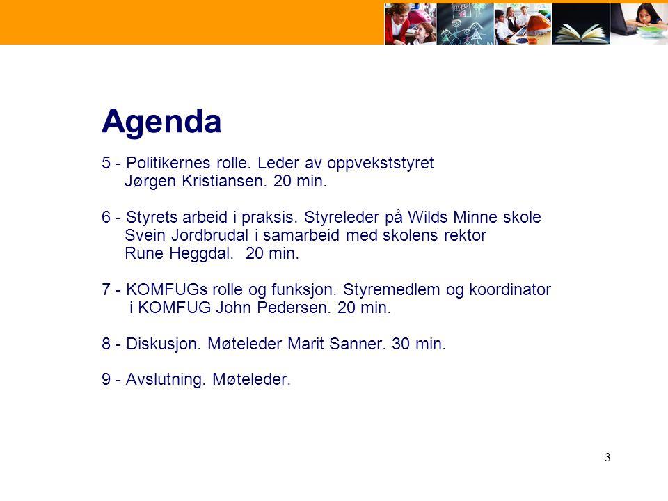 Agenda 5 - Politikernes rolle. Leder av oppvekststyret Jørgen Kristiansen. 20 min.