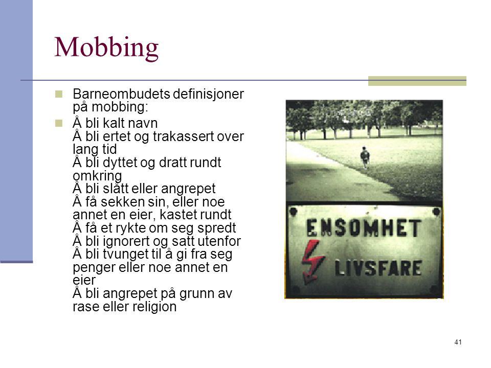 Mobbing Barneombudets definisjoner på mobbing:
