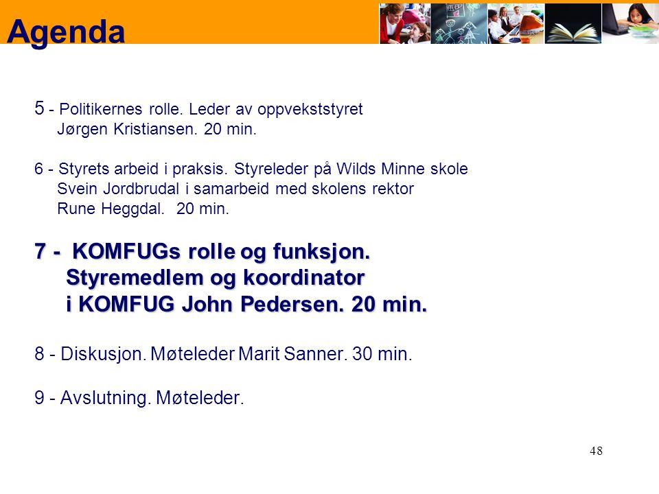 Agenda 7 - KOMFUGs rolle og funksjon.