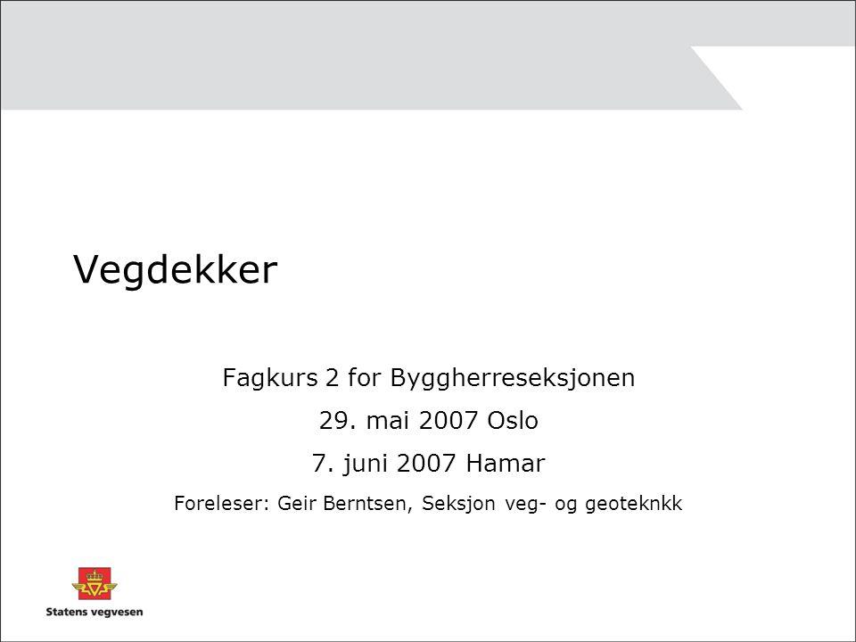 Vegdekker Fagkurs 2 for Byggherreseksjonen 29. mai 2007 Oslo