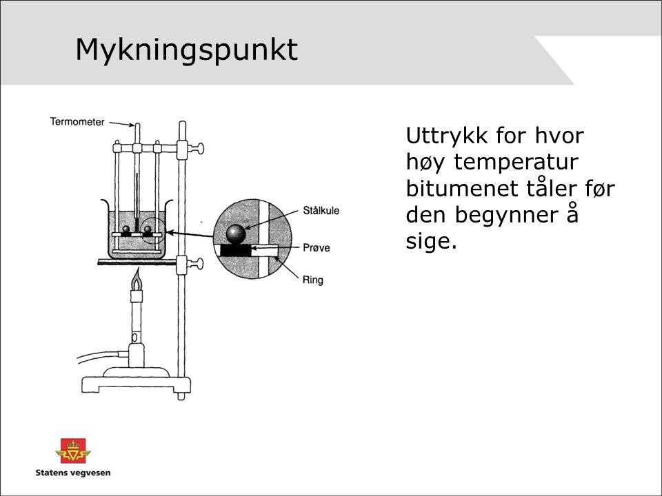 Mykningspunkt Uttrykk for hvor høy temperatur bitumenet tåler før den begynner å sige.