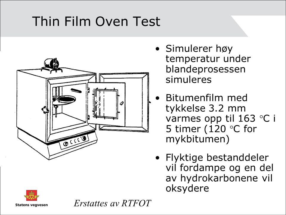 Thin Film Oven Test Simulerer høy temperatur under blandeprosessen simuleres.