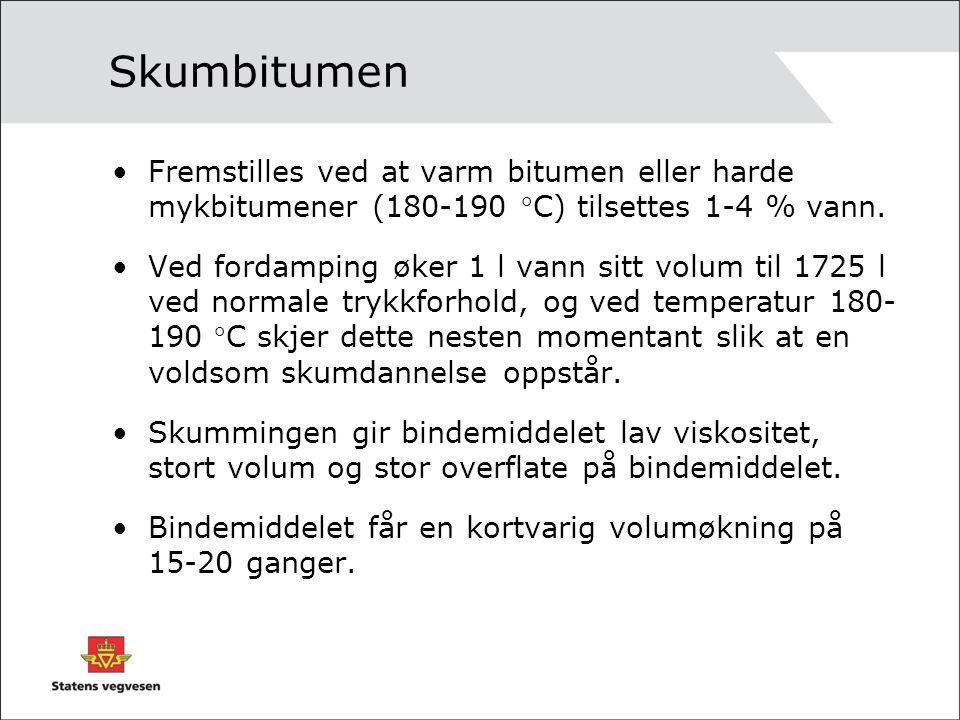 Skumbitumen Fremstilles ved at varm bitumen eller harde mykbitumener (180-190 C) tilsettes 1-4 % vann.