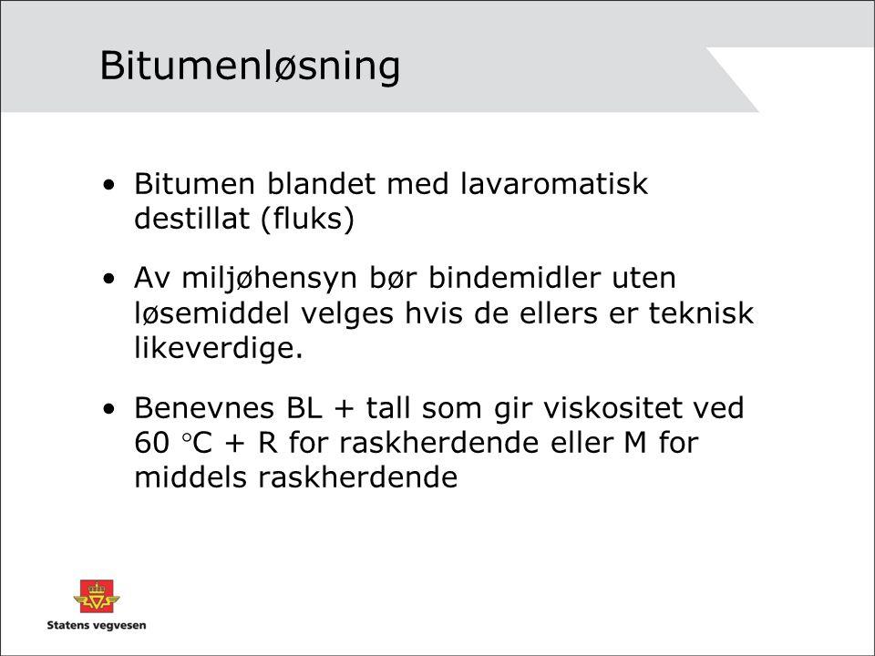 Bitumenløsning Bitumen blandet med lavaromatisk destillat (fluks)