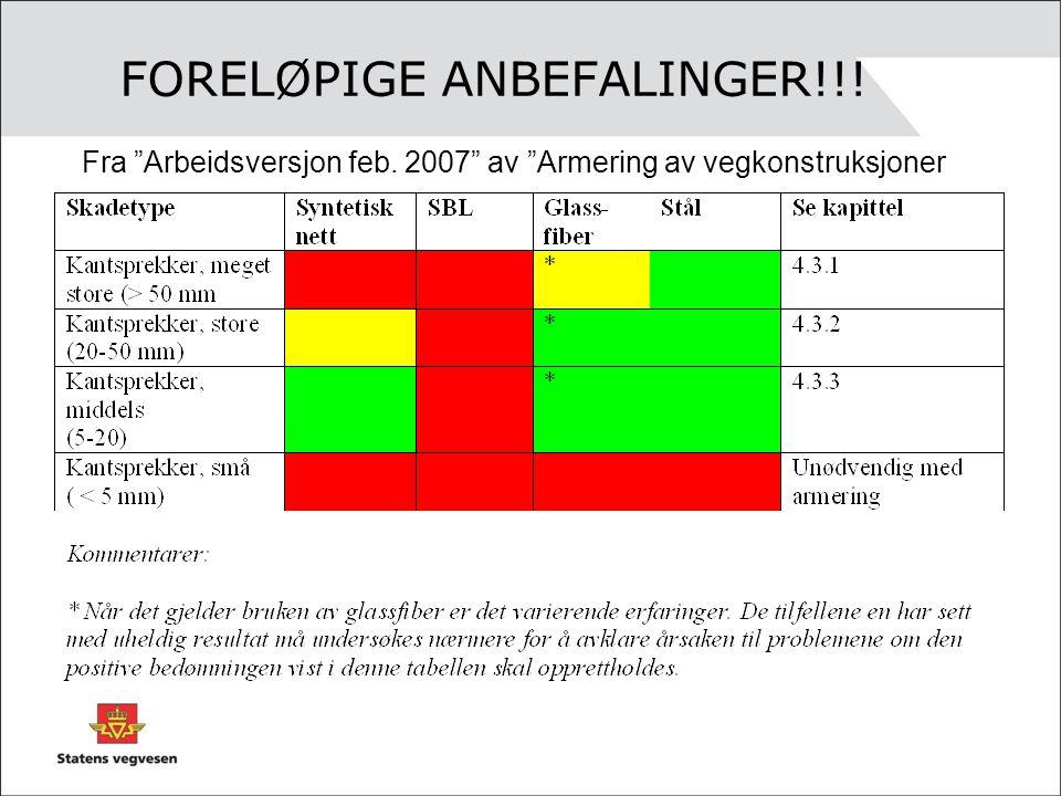FORELØPIGE ANBEFALINGER!!!
