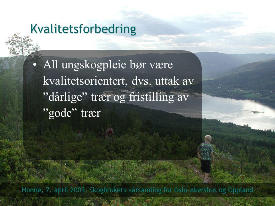 Kvalitetsforbedring All ungskogpleie bør være kvalitetsorientert, dvs. uttak av dårlige trær og fristilling av gode trær.