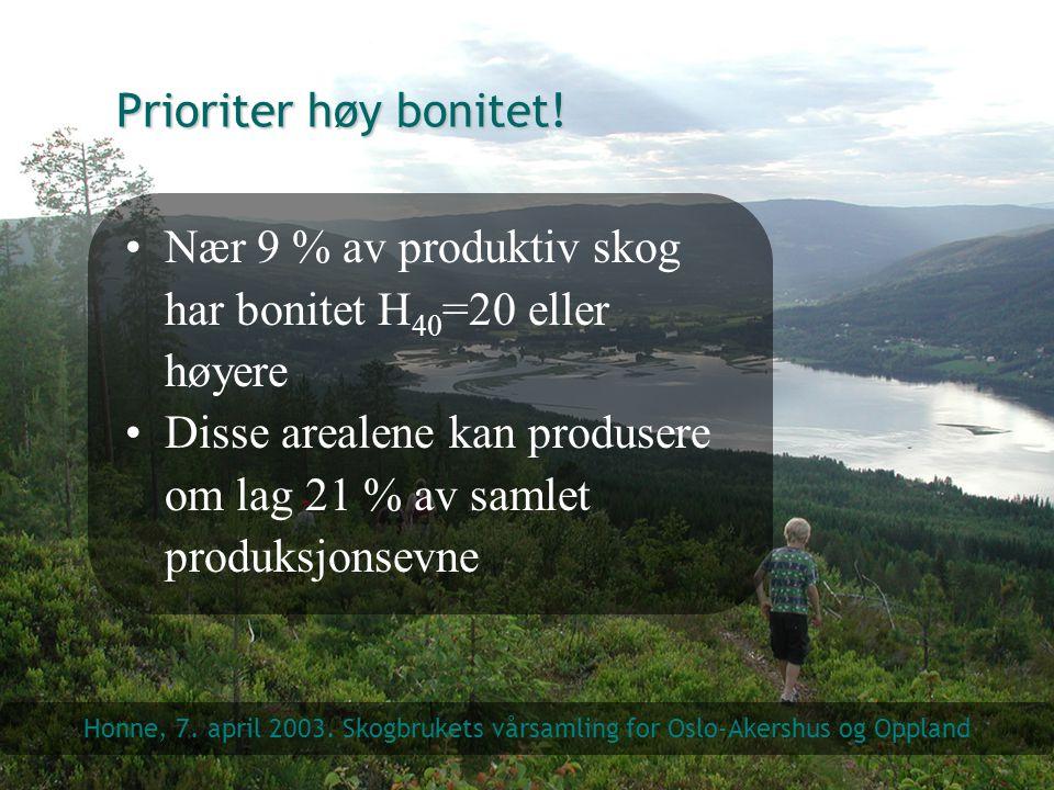 Nær 9 % av produktiv skog har bonitet H40=20 eller høyere