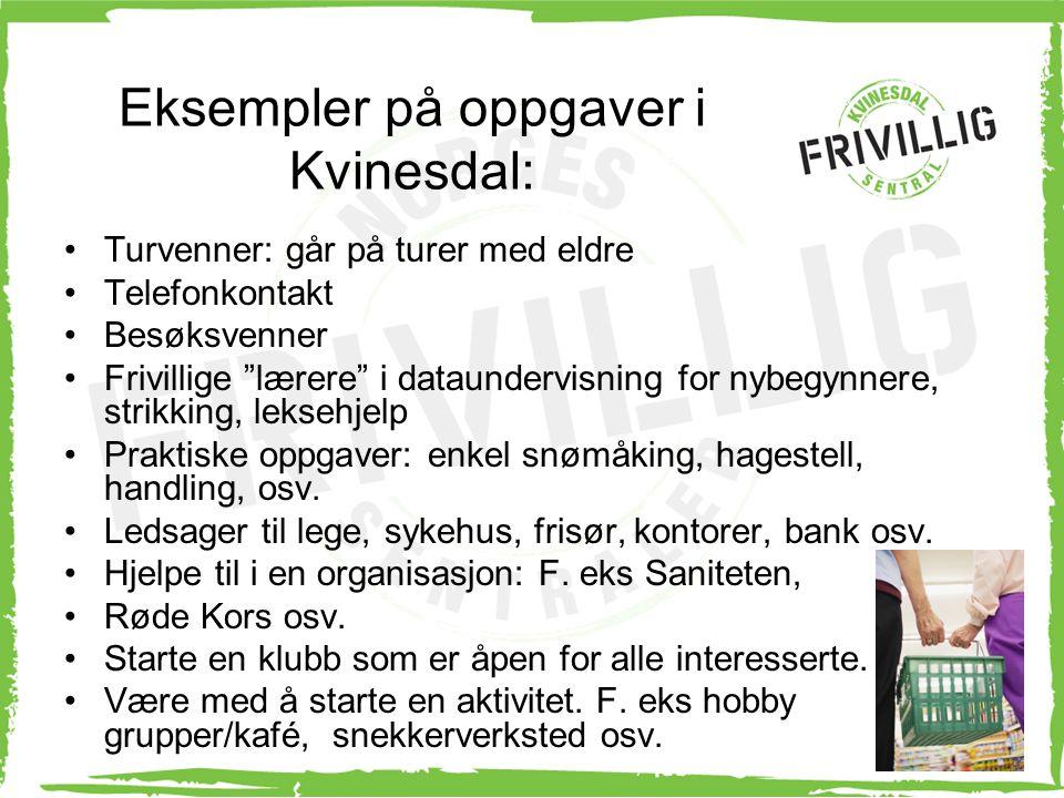 Eksempler på oppgaver i Kvinesdal: