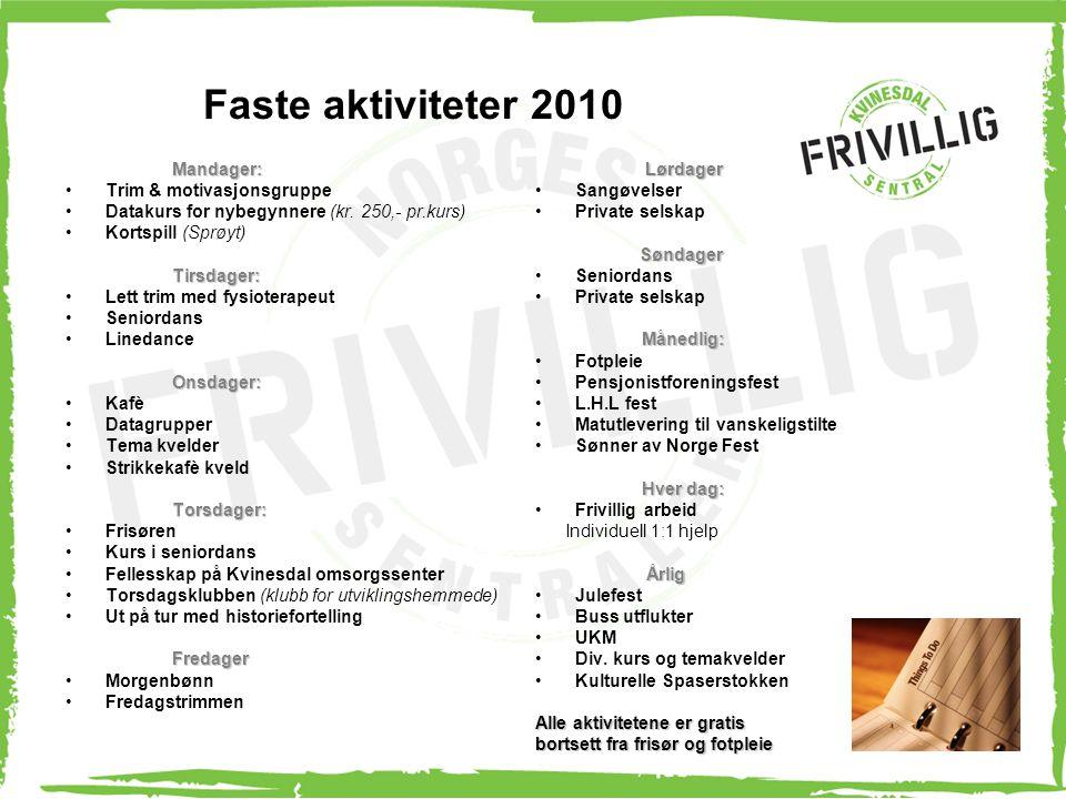 Faste aktiviteter 2010 Mandager: Trim & motivasjonsgruppe
