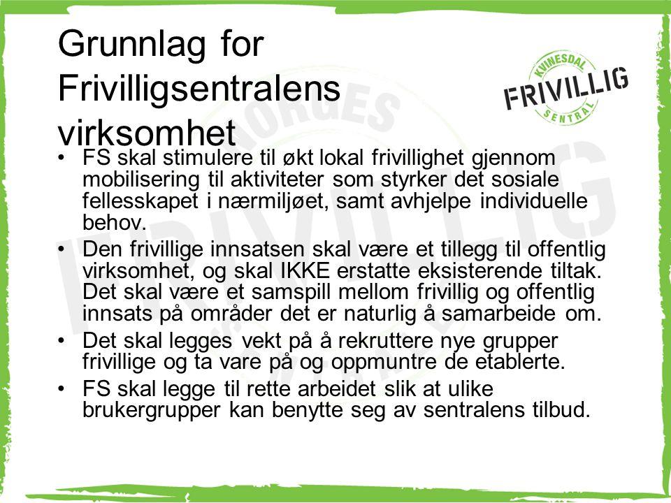 Grunnlag for Frivilligsentralens virksomhet