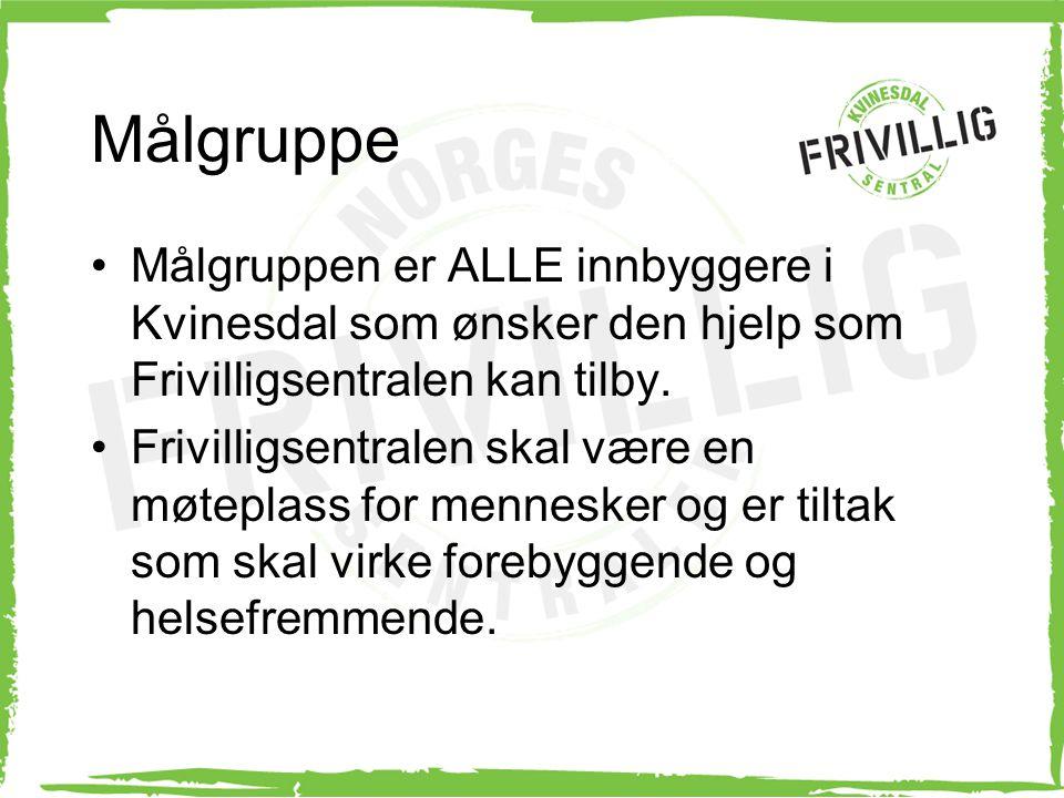 Målgruppe Målgruppen er ALLE innbyggere i Kvinesdal som ønsker den hjelp som Frivilligsentralen kan tilby.
