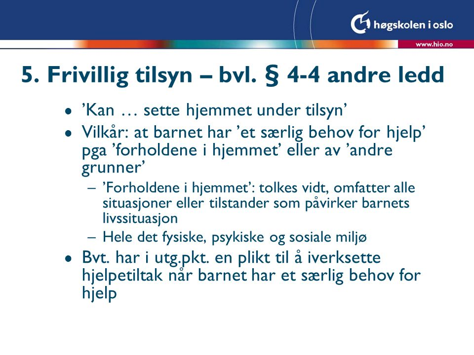 5. Frivillig tilsyn – bvl. § 4-4 andre ledd