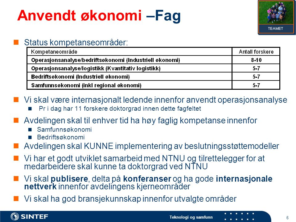 Anvendt økonomi –Fag Status kompetanseområder: