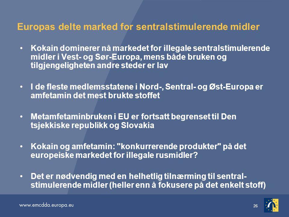 Europas delte marked for sentralstimulerende midler